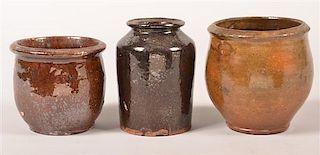 Three Pennsylvania 19th Century Redware Storage Jars.