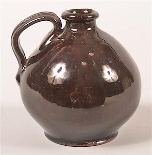 PA 19th Century Redware Manganese Glazed Small Jug.