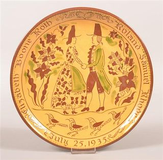 Oley Valley Pottery Redware Wedding Plate.