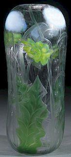 A L.C. TIFFANY FAVRILE CAMEO ART GLASS VASE