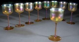 SET OF NINE L.C. TIFFANY FAVRILE GLASS WINES
