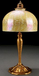 AN L.C. TIFFANY FURNACES BRONZE TABLE LAMP