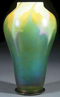 """L.C. TIFFANY FAVRILE """"PULLED FEATHER"""" VASE"""