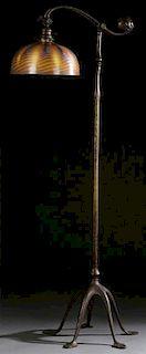 TIFFANY STUDIOS FAVRILE GLASS BRONZE BRIDGE LAMP