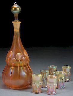 7 PIECE L.C. TIFFANY FAVRILE GLASS DECANTER SET