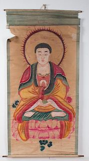 Chinese Provincial Buddha Scroll Painting