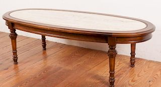 Oval Coffee Table With Marbleized Center