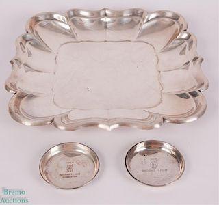 Vintage Sterling Silver Platter & Coaster Trophies