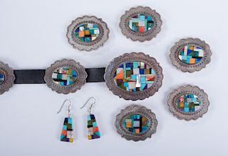 Navajo Silver Concha Belt & Earrings Set