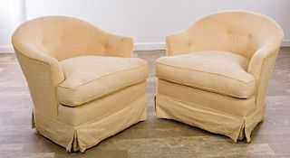 Tufted Barrel Back Club Chairs, Pair