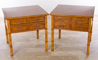 Fruitwood Parquetry Top End Tables, Pair