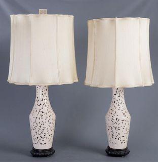 Blanc de Chine Table Lamps, Pair