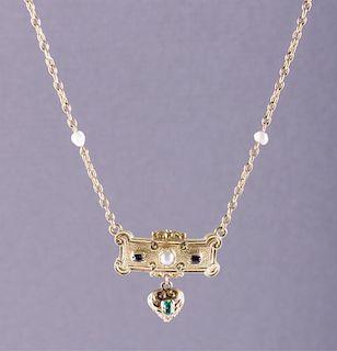 Antique 14K Seed Pearl, Garnet & Emerald Necklace