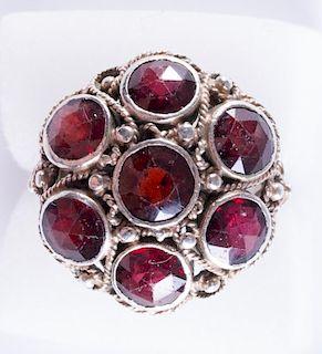 Garnet & Sterling Silver Cluster Ring