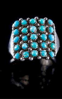 Zuni Sterling & Turquoise Snake Eye Ring