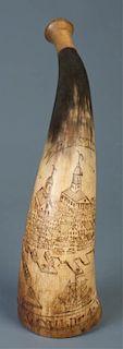 Scrimshaw Powder Horn Circa 1777, Boston