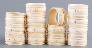 Whalebone Napkin Rings, Sailor Carved