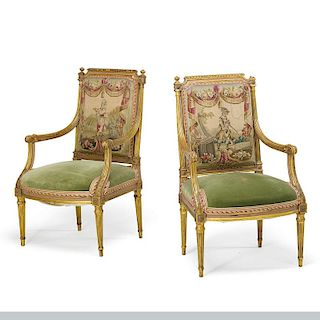 LOUIS XVI STYLE GILDED ARMCHAIRS
