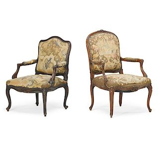ASSOCIATED PAIR OF LOUIS XV STYLE WALNUT ARMCHAIRS