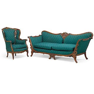 ROCOCO STYLE SETTE AND ARMCHAIR
