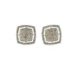 John Hardy Sterling Silver Diamond Stud Earrings