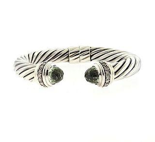David Yurman Sterling Diamond Prasiolite Cable Bracelet