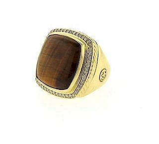 Large David Yurman Albion 18K Gold Diamond Tiger Eye Ring