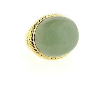 David Yurman Albion 18k Gold Milky Aquamarine Ring