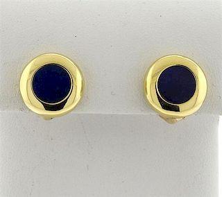 Tiffany & Co Lapis 18k Gold Button Earrings