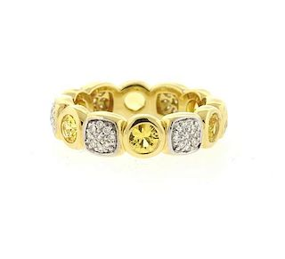 David Yurman 18k Gold Citrine Diamond Chiclet Band Ring