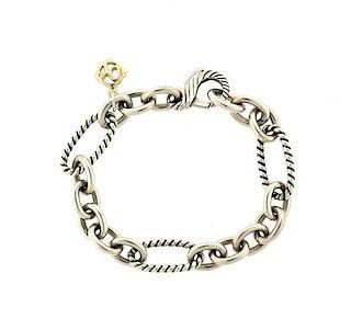 David Yurman Sterling 18k Gold Link Bracelet