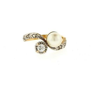 18k Gold Platinum Diamond Pearl Ring