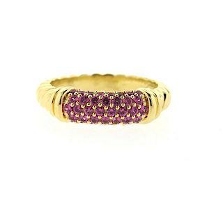 David Yurman 18k Gold Pink Sapphire Metro Ring