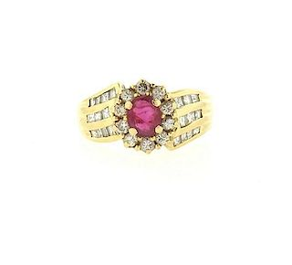 14k Gold Diamond Red Stone Ring