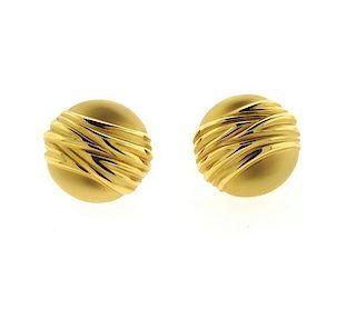 Charles Garnier 18k Gold Button Earrings