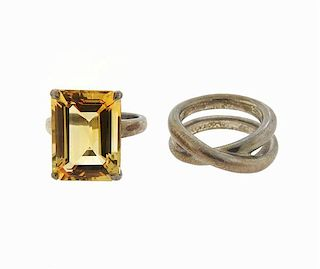 Tiffany & Co Sterling Citrine Sparklers Band Ring Lot of 2