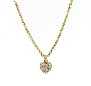 Cartier 18K Gold Diamond Heart Pendant Necklace