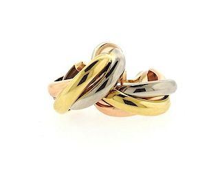 Cartier Trinity 18k Tri Color Gold Hoop Earrings