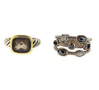 David Yurman 18K Gold Sterling Diamond Multi Stone Ring Lot of 2