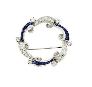 Art Deco Platinum Diamond Sapphire Brooch Pin