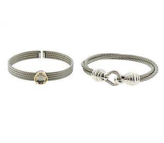 Charriol 18k Gold Steel Sterling Diamond Cord Bracelet Set