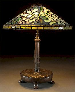 """TIFFANY STUDIOS """"BLUE CLEMATIS"""" FAVRILE GLASS AND BRONZE TABLE LAMP"""