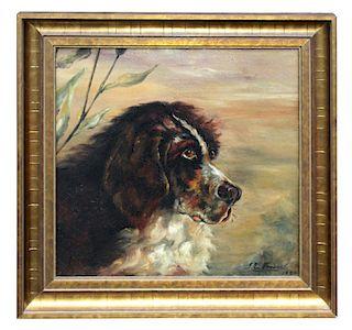 JE Fraser 1890 English oil on canvas portrait of a dog