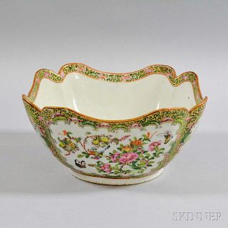 Rose Medallion Porcelain Bowl with Cut Corners