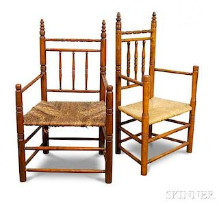 Turned Maple and Oak Carver's Chairs