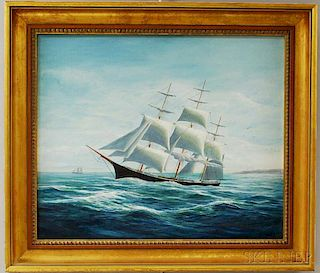Robert Lee Perry (Massachusetts/Maine, 1909-1991)       Portrait of the Clipper Ship Lightning.