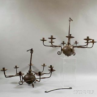 Two Wrought Iron Nine-light Chandeliers