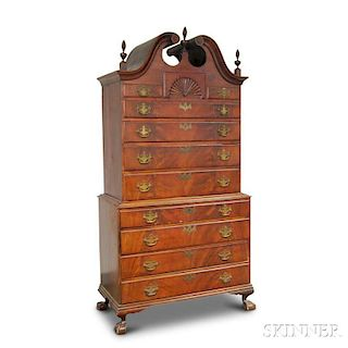 Chippendale-style Carved Mahogany Bonnet-top Chest on Chest