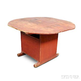 Red-painted Pine Oval-top Hutch Table