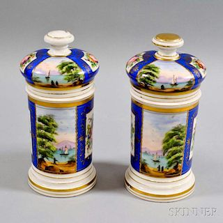 Pair of Hand-painted Porcelain Covered Jars